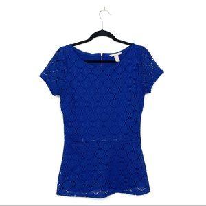 Banana Republic Blue Crochet Peplum Blouse